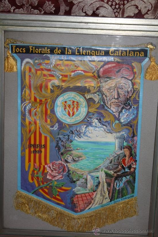 Banderines de colección: K2-004. BANDERÍN DELS JOCS FLORALS DE LA LLENGUA CATALANA A PARÍS 1959 FIRMADO ENRIQUEZ - Foto 2 - 32636642