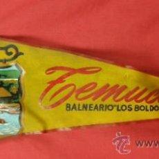 Banderines de colección: BANDERIN IMPRESO EN TELA TEMUCO BALNEARIO LOS BOLDOS CHILE AÑOS 50. Lote 33525764
