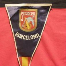 Banderines de colección: BANDERÍN IMPRESO SOBRE TELA PICADERO JC BARCELONA JOCKEY CLUB AÑOS 50. Lote 33526828