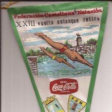 Banderines de colección: BANDERIN-XXIII VUELTA ESTANQUE RETIRO-FED.CASTELLANA NATACION-COCA COLA-MAYO 1966. Lote 33706027