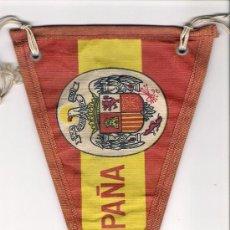 Fanions de collection: ANTIGUO BANDERIN DE TELA, BANDERA ESPAÑOLA CON ESCUDO DE AGUILA. Lote 35887390