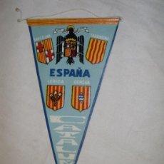 Banderines de colección: BANDERIN CON ESCUDOS DE ESPAÑA Y CUATRO PROVINCIAS CATALANAS AÑOS 60. Lote 35890663