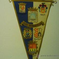 Banderines de colección: BANDERIN TELA SAN SEBASTIAN - CON ESCUDOS DE OTRAS CIUDADES IRUN,LOYOLA ZARAUZ ETC. Lote 38706556