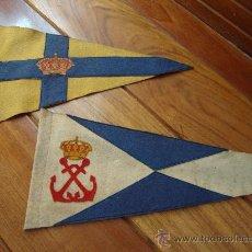 Banderines de colección: 2 X BANDERINES ANTIGUOS, CORONA ANCLAS. Lote 38757996
