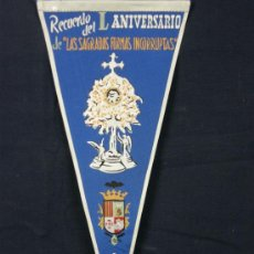 Banderines de colección: BANDERÍN TELA RECUERDO DEL L ANIVERSARIO DE LAS SAGRADAS FORMAS INCORRUPTAS SILLA. Lote 39085442