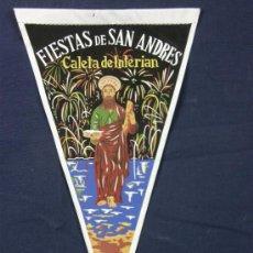 Banderines de colección: BANDERÍN TELA FIESTAS DE SAN ANDRÉS CALETA DE INTERIAN 1959. Lote 39085506