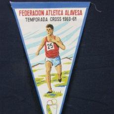 Galhardetes de coleção: BANDERÍN TELA FEDERACIÓN ATLÉTICA ALAVESA TEMPORADA CROSS 1960-61 FAA. Lote 39085814
