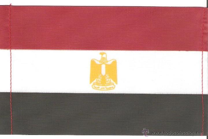 10 BANDERITAS 15X10 DEL EGIPTO ESTAMPADAS SOBRE CINTA DE RAYON A DOBLE CARA (Coleccionismo - Banderines)