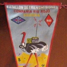 Banderines de colección: ANTIGUO BANDERIN BATALLON DE TRANSMISIONES COMPAÑIA RIO ROJO - SAHARA 1959 - MIDE 35 CMS APROX. - TA. Lote 38263144