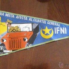 Banderines de colección: ANTIGUO BANDERIN COMPAÑIA MIXTA AFECTA AL CUARTEL GENERAL SIDI IFNI 1959 / 60 - SAHARA - MIDE 35 CMS. Lote 38263210