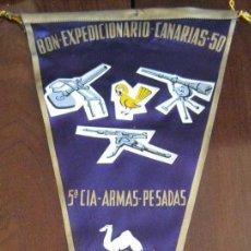 Banderines de colección: ANTIGUO BANDERIN BATALLON EXPEDICIONARIO CANARIAS 50- IFNI 5ª COMPAÑIA ARMAS PESADAS - SAHARA - MIDE. Lote 38263216