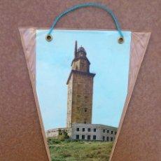 Banderines de colección: BANDERIN DE LA TORRE DE HERCULES - LA CORUÑA - AÑOS 60-70. Lote 40736868