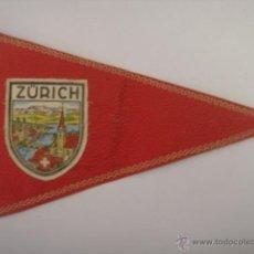 Banderines de colección: BANDERÍN SOUVENIR DE ZURICH-SUIZA. EN PIEL ROJA. MIDE: 24,1 X 15,1 CMS.. Lote 40937283