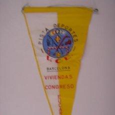 Banderines de colección: BANDERÍN DE V.C.E. PISTA DEPORTES-BARCELONA. EN TELA. MIDE: 25,4 X 12,1 CMS.. Lote 41086969