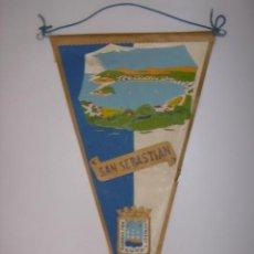 Banderines de colección: BANDERÍN-SOUVENIR. SAN SEBASTIAN-ESPAÑA. EN TELA. MIDE: 26,5 X 14,3 CMS.. Lote 41090620