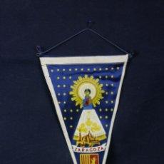 Banderines de colección: BANDERÍN DE TELA ZARAGOZA TEMPLO Y VIRGEN DEL PILAR 28 X 15 CM. Lote 43419904