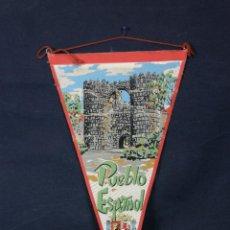 Banderines de colección: BANDERÍN TELA PUEBLO ESPAÑOL ESCUDO ESPAÑA 28 X 15 CM. Lote 43420201