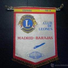 Banderines de colección: BANDERIN CLUB DE LEONES MADRID BARAJAS - LIONS CLUB. Lote 44016976