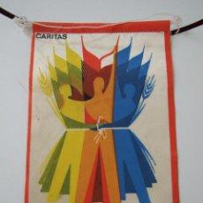 Banderines de colección: CARITAS - CORPUS CHRISTI : DIA NACIONAL DE LA CARIDAD - AÑOS 70 - BANDERIN. Lote 44313666