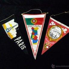 Banderines de colección: COLECCIÓN DE 3 BANDERINES DE CAPITALES EUROPEAS. AÑOS 60. Lote 45648428