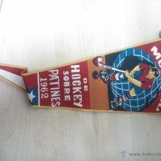 Banderines de colección: BANDERIN CAMPEONATO MUNDIAL DE HOCKEY SOBRE PATINES 1962. Lote 46122189