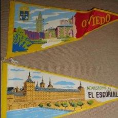 Banderines de colección: LOTE 3 BANDERINES OVIEDO EL ESCORIAL Y LAREDO. Lote 47676813