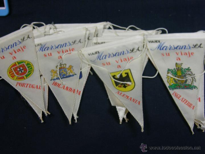Banderines de colección: conjunto 16 banderines viajes marsans s.a. ciudades escudos impresos varias 24x14cms - Foto 2 - 51342209