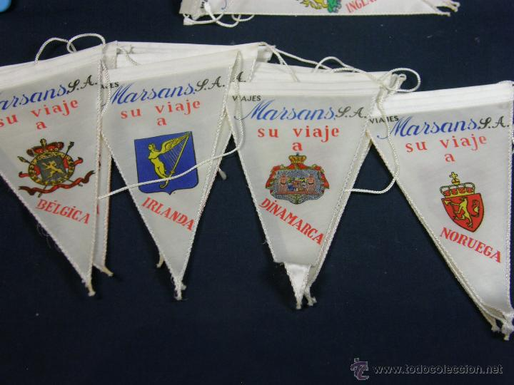 Banderines de colección: conjunto 16 banderines viajes marsans s.a. ciudades escudos impresos varias 24x14cms - Foto 3 - 51342209