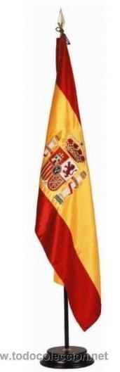 GRAN BANDERA DE ESPAÑA - BORDADA A MAQUINA- EN RASO (Coleccionismo - Banderines)