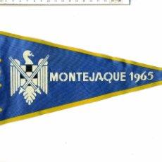 Banderines de colección: ANTIGUO BANDERÍN DE LAS MILICIAS UNIVERSITARIAS : MONTEJAQUE 1965. Lote 52616375