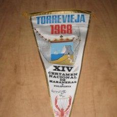 Banderines de colección: BANDERIN TORREVIEJA 14º CERTAMEN NACIONAL DE HABANERAS Y POLIFONIA 1968. Lote 52946203