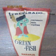 Banderines de colección: BANDERIN GIN GREEN-FISH. NARANJA-LIMÓN.. Lote 54047543