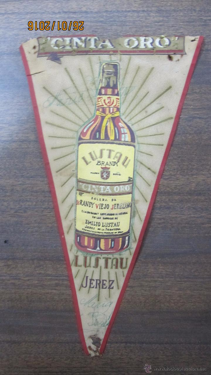 BANDERIN BRANDY LUSTAU. CINTA ORO. JEREZ (Coleccionismo - Banderines)