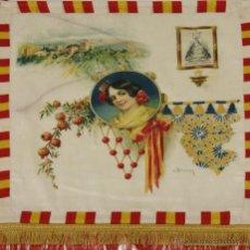 Banderines de colección: BANDERIN EN SEDA ESTAMPADA. FIRMADO F. BLANCH. SIGLO XX.. Lote 51417926