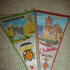 Banderines de colección: VALENCIA, LOTE DE DOS BANDERINES DE TELA DE LOS AÑOS 60. Lote 54930520