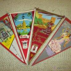 Banderines de colección: SEVILLA, LOTE DE CUATRO BANDERINES DE TELA DE LOS AÑOS 60. Lote 54930926