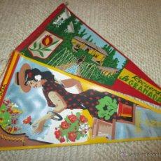 Banderines de colección: GRANADA Y ANDA LOTE DE DOS BANDERINES DE TELA DE LOS AÑOS 60. Lote 54931936