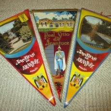 Banderines de colección: ARANJUEZ, MADRID LOTE DE TRES BANDERINES DE TELA Y PLÁSTICO DE LOS AÑOS 60. Lote 54932420