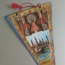 Banderines de colección: BANDERIN NUESTRA SEÑORA DEL PILAR ZARAGOZA ESCUDO FRANQUISTA AÑOS 70. Lote 56889353