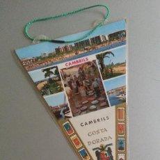 Banderines de colección: BANDERIN CAMBRILS BAIX CAMP COSTA DAURADA ESCUDO FRANQUISTA ESPAÑA AÑOS 70. Lote 56889451