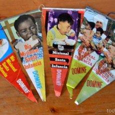 Banderines de colección: LOTE DE 5 BANDERINES PUBLICITARIOS DOMINF * PUBLICIDAD * DIA MISIONAL SANTA INFANCIA. Lote 58671574