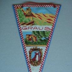 Banderines de colección: BONITO BANDERIN DE GRAUS ( HUESCA ) - PLASTIFICADO - AÑOS 60 A 70...... R-1622. Lote 37147828