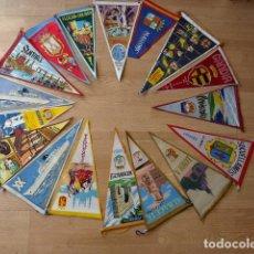 Banderines de colección: LOTE DE 17 BANDERINES ANTIGUOS PINTADOS EN TELA - DIVERSAS CIUDADES DE ESPAÑA. Lote 81282332