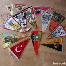 Banderines de colección: LOTE DE 13 BANDERINES ANTIGUOS PINTADOS EN TELA Y PLÁSTICO - PAÍSES DEL MUNDO. Lote 81316132