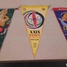 Banderines de colección: LOTE DE 3 BANDERINES ANTIGUOS DE TELA DE LA FERIA DE MUESTRAS DE BARCELONA. . Lote 91357962