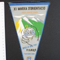 Banderines de colección: RARO BANDERIN XI MARXA D'ORIENTACIO XXIV ANIVERSARI RIELLS DEL FAI FIGARO 1956 CEP BARCELONA. Lote 92113450