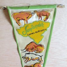 Banderines de colección: BANDERIN TURISTICO SANTANDER, CUEVAS DE ALTAMIRA. AÑOS 60.. Lote 93863470