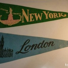 Banderines de colección: 2 BANDERINES EN FIELTRO NEW YORK Y LONDON BA 19. Lote 95940699