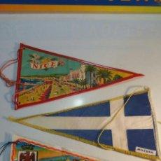 Banderines de colección: 3 BANDERINES 2 DE NICE Y UNO GRIEGO BA 21. Lote 95949371