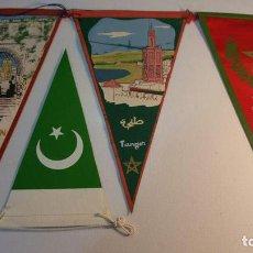 Banderines de colección: 4 BANDERINES TETOUAN - TANGER - CASABLANCA - PAKISTAN. Lote 95949995